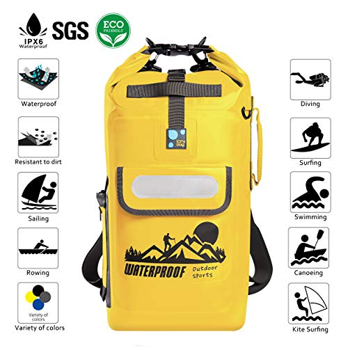 IDRYBAG Dry Bag Waterproof Backpack Floating 20L Roll Top Compression Sack  Keeps Gear Dry for Kayaking 5622b6437be3a
