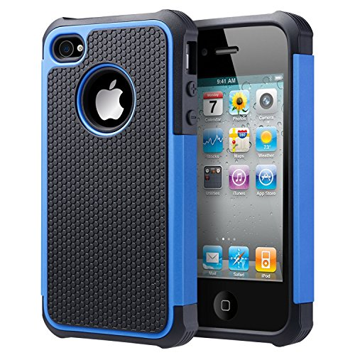 UARMOR Case for Apple iPhone 4 / iPhone 4S, Hybrid Dual Layer Protective Case with Hard Plastic and Soft Silicone Shockproof Durable Fullbody Protection Case, Black+Blue (Otter Box Cases For I Phone 4)