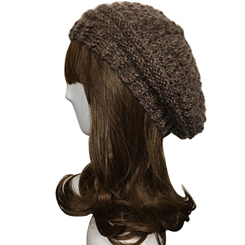ZORJAR Knitted Hat Camel Hair Beret Women Warm Handmade Cap For 3 Seasons(Brown)