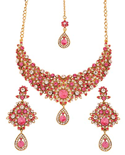 - Touchstone Indian Bollywood Filigree White Pink Crystals Wedding Jewelry Necklace in Antique Gold Tone