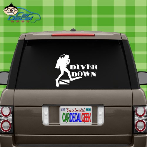 - Scuba Diver Down Vinyl Vinyl Decal Sticker for Car Truck Window Laptop MacBook Wall Cooler Tumbler | Die-Cut/No Background | Multiple Sizes and Colors, 20-Inch, Silver