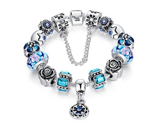 Pulseras de Mujer Pulseiras 925 Silver Charms Glass Bead for