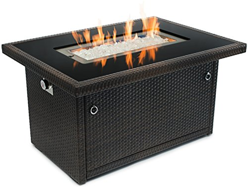 Outland Fire Table, Aluminum Frame Propane Fire Pit Table w/Black Tempered Glass Tabletop Resin Wicker Panels & Arctic Ice Glass Rocks, Model 401 35,000 BTU Auto-ignition (Furniture Pits Patio Fire)