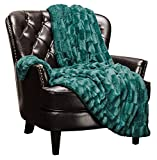 Chanasya Super Soft Fuzzy Faux Fur Elegant Rectangular Embossed Throw Blanket | Fluffy Plush Sherpa Cozy Microfiber Evergreen Blanket for Bed Couch Living Room Fall Winter Spring (50' x 65') - Teal