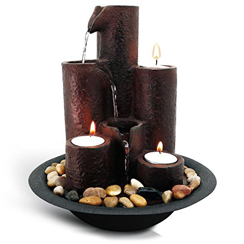 - SereneLife Desktop Waterfall Fountain (3-Tier) | Cascading Tabletop Water Decoration | Indoor, Outdoor, Patio or Garden Use | 3 Candles and River Rocks Included.