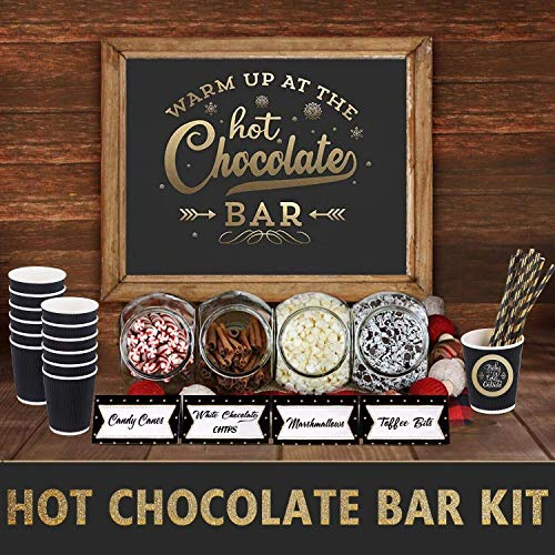Hot Chocolate Bar Kit -Sign Labels Cup Tags - Decorations for Christmas Party New Year's Eve Kids Birthday (Hot Set Cocoa)