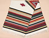 Old Mexican Style Woven Blanket with Traditional Designs & Colors 5'x7' for beds, Yoga, Pic Nic, Beach, Travel and Rustic Home Decor (San Miguel)