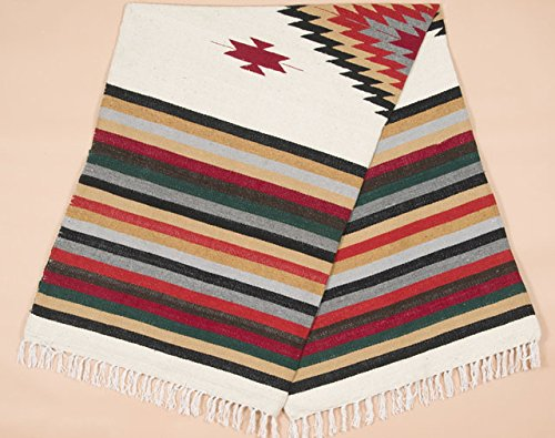 Old Mexican Style Woven Blanket with Traditional Designs & Colors 5'x7' for beds, Yoga, Pic Nic, Beach, Travel and Rustic Home Decor (San -