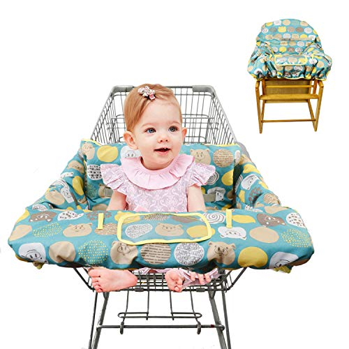 2-in-1 Shopping Cart Cover for Baby Padded Toddler High Chair Cover with Cell Phone Holder -Grocery Cart Liner for Boy or Girl Large Size (Yellow Cute)