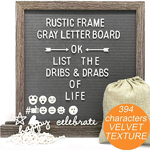 Gray Felt Letter Board Message Sign with Stand- 12x12 Changeable Letter Board with 394 White Plastic Letters, Nail File & Letters Bag, Perfect Gift by Muga