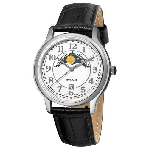 Grovana Men's 1026-1533 Moonphase Analog Display Swiss Quartz Black Watch