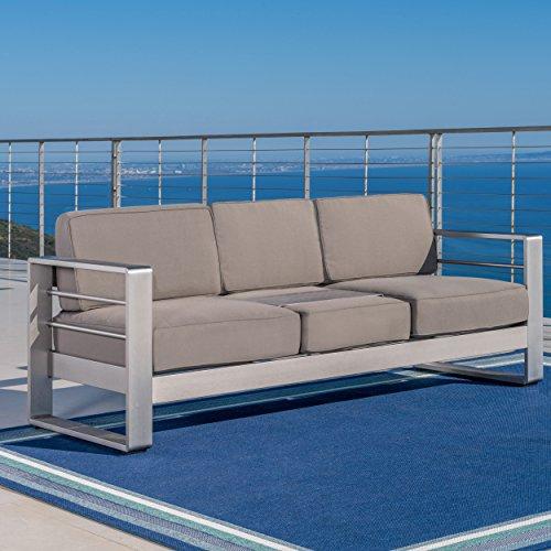 Gdf Studio 299431 Crested Bay Outdoor Aluminum Khaki Sofa