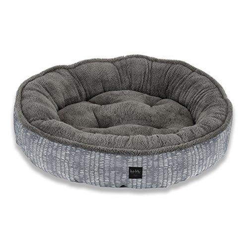 Home Dynamix Nicole Miller Comfy Pooch Pet Bed, 30 Inch Round, Gray Abstract