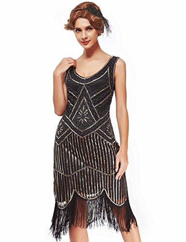 Women's Roaring 20s V-Neck Gatsby Dresses- Vintage Inpired Sequin beaded Flapper Dresses (L, light gold)]()