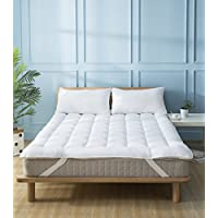 Mattress Topper Queen Quilted Down Alternative Overfilled Extra Plush Anchor Band 4 Corner Elastic Protector Reviver Enhancer Extra Deep Fits 8-21Inches Hypoallergenic Soft White Bed Cover