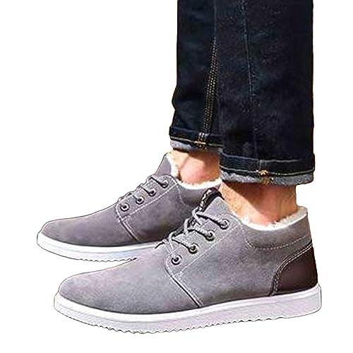 Hibote Zapatillas de Deporte de Invierno para Hombre Low-Top Flat Trainers Botines con Cordones Warm Fining Slipper Deportes Al Aire Libre Zapatos ...