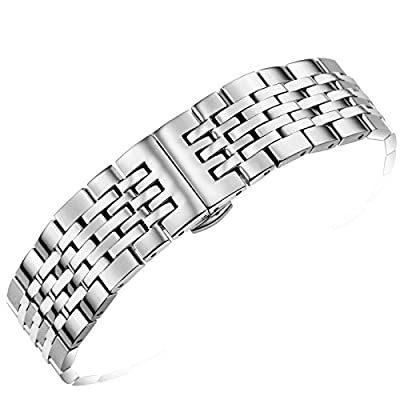 22mm Deluxe Solid Stainless Steel Watch Band in Silver with Straight or Curved Ends and Fold-Over Clasp