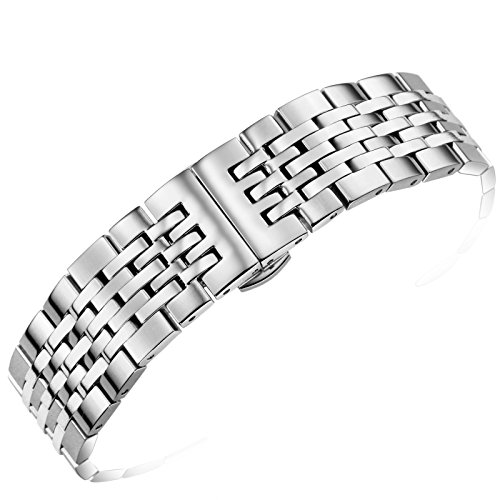 Refined Silver Stainless Steel Watch Straps 19mm Adjustable Length with Solid Links and Deployment Clasp