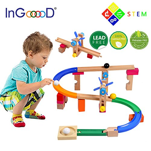 Ingooood Wooden Nut Roller Coaster Track  Multifunction Building Education Toys Assembly   Disentanglement For 3 Years Old And Up Of Children