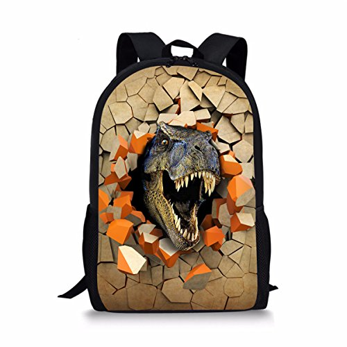 Showudesigns Unique Printing Dinosaur Children School Backpack with Soft Handle