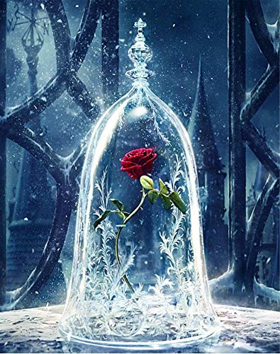 YEESAM ART DIY Paint by Numbers for Adults Beginner Kids, Roses in Glass Dome, Enchanted Rose Flowers, Beauty and The Beast 16x20 inch Linen Canvas Acrylic (Beauty And The Beast Paint By Number)
