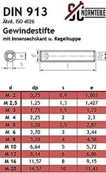 10 St/ück Gewindestifte mit Spitze VA2 Madenschrauben DIN 914 M6x20