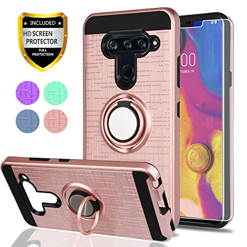 LG V40 ThinQ Phone Case,LG V40 Cases with HD Phone Screen Protector,YmhxcY 360 Degree Rotating Ring & Bracket Dual Layer Resistant Back Cover for LG V40-ZH Rose Gold