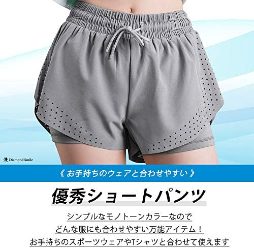 ショートパンツ ランニング スポーツウェア レディース 斜めカットの裾で脚長ルック 5サイズ