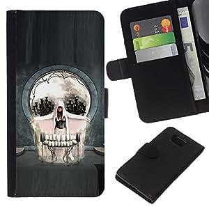 NEECELL GIFT forCITY // Billetera de cuero Caso Cubierta de protección Carcasa / Leather Wallet Case for Samsung ALPHA G850 // Cráneo gótico del arte abstracto