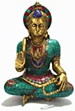 "12.5"" Hanuman Statue- Monkey God Lord Rama Devotee Bajrangbali Sculpture- Hindu Lord of Strength Brass Turquoise Figurine"