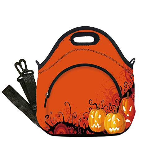 - Insulated Lunch Bag,Neoprene Lunch Tote Bags,Spider Web,Three Halloween Pumpkins Abstract Black Web Pattern Trick or Treat Decorative,Orange Marigold Black,for Adults and children