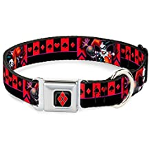 """Buckle-Down DC-WJK012-L Dog Collar Seatbelt Buckle-Harley Quinn Bomb Poses/Suits Black/Purple/Red, 1""""x15-26"""""""