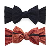 Baby Bling Bows 2 Pack - Girls Classic Knot Headbands Orange Basketball Black