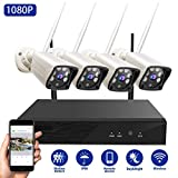 Abowone Security Camera System Wireless 1080P 4 Channel 1080P NVR 4PCS 1080P IP66 Waterproof Wireless Security Cameras Auto Pair Remote View Motion Detection 100ft Night Vision(No Hard Drive)