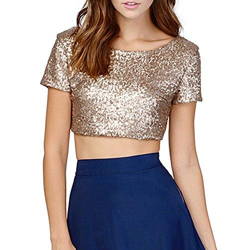ELINKMALL Women's Summer Sequin Sparkle O-neck Short Sleeve T-Shirt Tops (M, Gold)