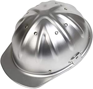 Aluminum Safety Hard Hats Helmet Full Brim with Ratchet Suspensions Silver Safety Cap One Size Helmet Fits Most