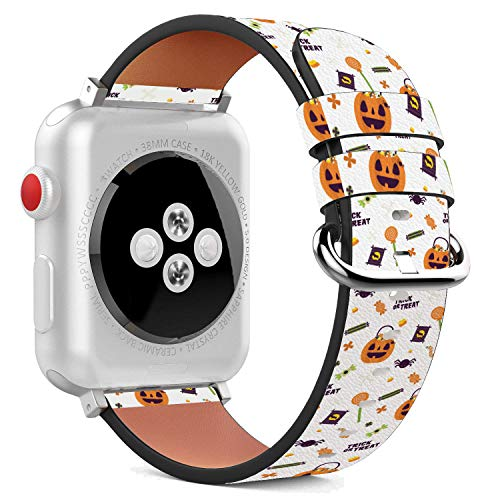 42mm Replacement PU Leather Wristband Bracelet Stainless Steel Clasp Adapters Apple Watch - Halloween Pumpkin -