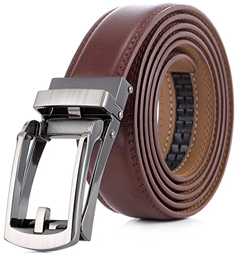 Marino Men's Genuine Leather Ratchet Dress Belt with Open Linxx Buckle, Enclosed in an Elegant Gift Box - Brown - Style 37 - Custom XL: Up to 54