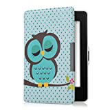 kwmobile Elegant synthetic leather case for the Amazon Kindle Paperwhite Sleeping Owl in turquoise brown mint