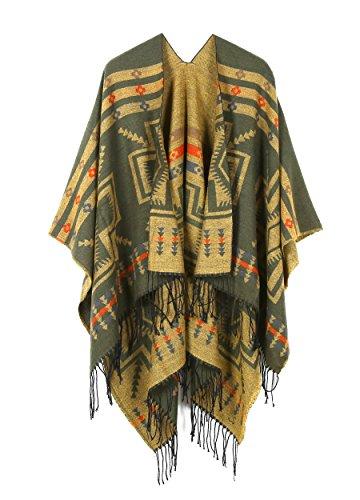 Oversized Tassel Cashmere Pashmina Shawl Knitted Poncho Sweater Olive