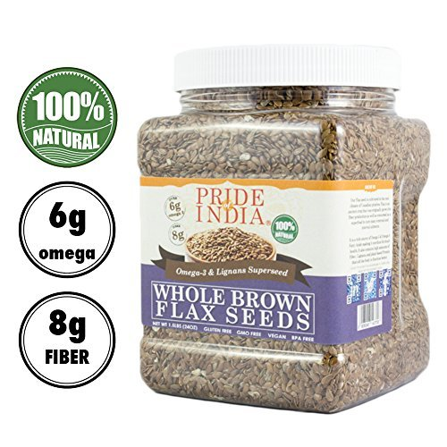 Pride Of India - Whole Brown Flax Seeds - Omega-3 & Lignan Superfood, 2.75 Pound (44oz) Jar (Best Yogurt Brand In India)