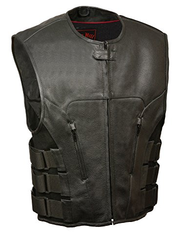 - Biker Access-Men's SWAT Style Zipper Front Vest-BLACK-3X