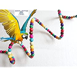 Smile Pig Lover Bird Flexible Colorful Rainbow Bridge Ladder Cage Parrot Hanging Toy Cage Rope Bungee Bird Swing Nest Toy Chewing Toy for Parrot,Swings,Ladders to Balance Exercise (2)
