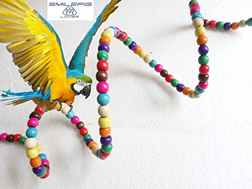 Smile Pig Lover Bird Flexible Colorful Rainbow Bridge Ladder Cage Parrot Hanging Toy Cage Rope Bungee Bird Swing Nest Toy Chewing Toy for Parrot,Swings,Ladders to Balance Exercise - Com Hut The Www
