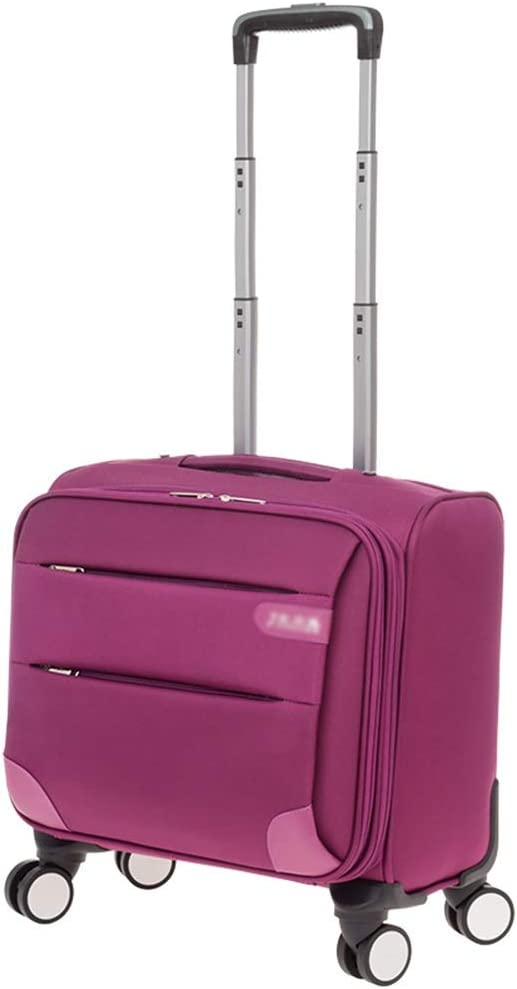 Color : Purple, Size : 18 inches Travel Trolley Case Suitcase Spinner Hand Luggage Check-in Hold Luggage Expandable Strong Lightweight Flight Attendant Universal Wheel Oxford Cloth GAOFENG
