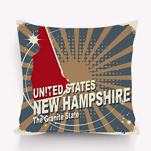 YILINGER Home Decor Throw Pillow Cover Pillow Case 18 x 18 Inch Cotton Velvet for Sofa Abstract Label Name map New Hampshire Abstract Label Name map New Hampshire