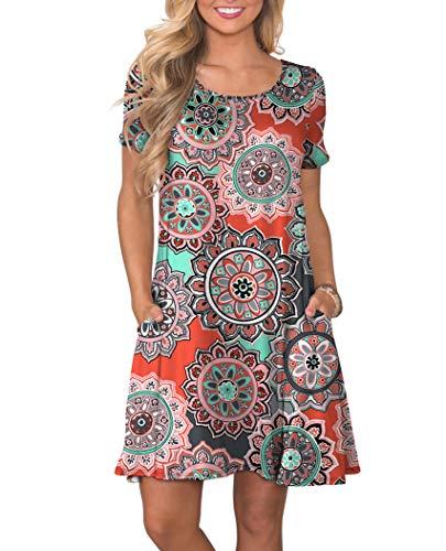 KORSIS Women's Summer Floral Dresses Short Sleeve Tunic T Shirt Swing Dresses Round Flower Orange S - Orange Floral Tunic