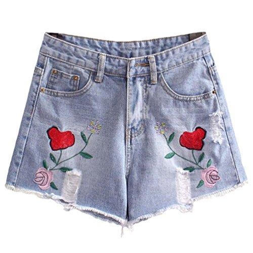 Sentao Donna Vintage Jeans Hole Shorts Denim Bordado Pantaloncini Corti Stile 1