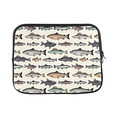 Design Custom Seamless Pattern with Vintage Hand Drawn Fishes Sleeve Soft Laptop Case Bag Pouch Skin for MacBook Air 11