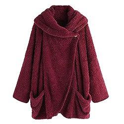 Hulkay Womens Turtleneck Plush Coat Upgrade Long Sleeve Button Cotton Jacket Warm Slim Cloak Outwear Boho Tops Plus Size Red Xl